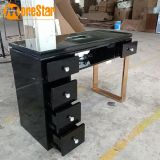 modern luxury black glass manicure table,durable beauty salon for nail art