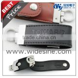 Leather USB flash memory 1GB to 16GB leather keychain 2014 new products promotional item