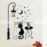 night cat lamp removable pvc wall stickers