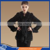 2015 Long style Big Raccoon Fur Collar Lady Winter Fashion Real Rabbit Fur Coat With 4 colors