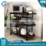 Modern powder coated metal and wood oven shelf storage rack