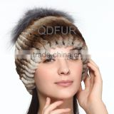 QD70094 Animal Fur Hat Sexy Girl Womens Rex Rabbit Fur hats with Silver Fox Fur Ball for Ladies Hats online