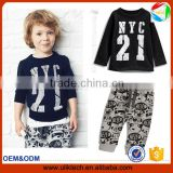 Fashion design of casual baby set black boys tshirt new style of 2016 style for kids spring clothing (uk-022302)