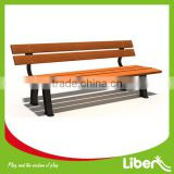Children Outdoor Public Wooden Park Bench with Cast Iron Leg