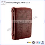 Custom cross logo tan leather bible cover 2016