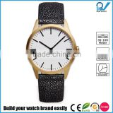 PVD satin gold case coating stainless steel case 5ATM waterproof unisex genuine leather fashion watch