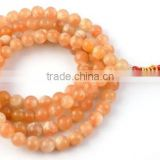 "1 Strand Natural Peach Agate Smooth Rondelle Balls 7-8mm 34"" Long Beads Strand,Japa Mala,Prayer Beads Strand,108 Beads M"