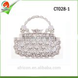 Crystal silver color skull shape Evening metal cluth bag CT028-1