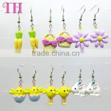 custom child sterile resin flower rabbit shape earring cheap china hook earrings daily wear earrings