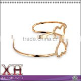 China Ali Express Silver Rose Gold Plated GZ Open Heart Cuff Bracelet