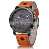 Army Style Military Sports Chronometer Male Leather Men Curren Watches