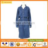 Guangzhou Wholesale OEM Spring Autumn Open Collar Long Sleeve Casual Denim Shirt Dress For Women