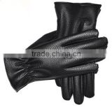 Black leather horse riding gloves