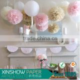Romantic Christmas decor Paper Pom Poms beautiful wholesale birthday party supplies                                                                         Quality Choice