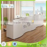 2016 New design wave shape white MDF spa reception desk dimensions YS-RCT02