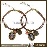 European vintage creative cartoon and engraved letter charm rope bracelet decorated with rhinestone