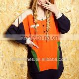Plus Size Spell Color Fashion Hoody Oversize Pullover Ladies Clothes ,Women Custom Hoody Custom Made