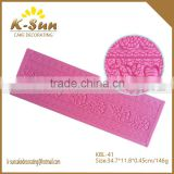 HOT SALE Valentine's Day big size flower rose fondant silicone 3D lace mat cake lace decorating tools