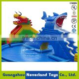 2016 New Design NEVERLAND TOYS Large Inflatable Shark and Dragon Water Slide with Swimming Pool Hot Sale