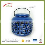 Gifts & Crafts glazed outdoor ceramic suboos camping lantern, outdoor ceramic garden lantern