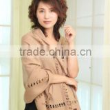 Elegant fine camel wool shawl with lace