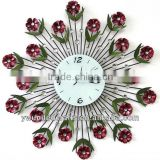 Hot Sale Mordern Home Decorative Exquisite Mirror&Diomond Metal Wall Clock wholesale