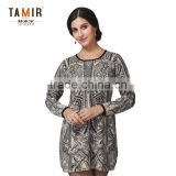 Ladies Cashmere Knit Baroque Floral Print Dress, Women Delicate Print Dress