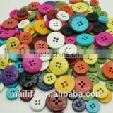 Fancy 4 Holes Round Colorful Red, Blue, White, Yellow, Brown Painted Coconut Shell Button