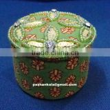 Green Color Zari Embroidery Box