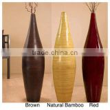 Spun bamboo vases, decorative flower vases with lacquer finish