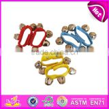 Hot sale colorful percussion musical toy wooden baby handbell set W07I098