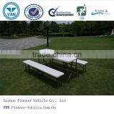 2014 plastic banquet folding table and chairs, 6ft round table,catering table/outdoor chess table(ISO approved)