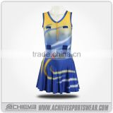Dye sublimation prinitng colorful fashion ladies dresses cheap custom netball bibs dress