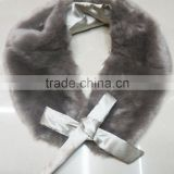 Fashion faux fur collar shawl with bow ribbon for winter