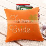 Square Shape Orange Wholesale Pillow Cases Decorated with Rhinestones