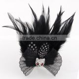 Tiny Panda Feather Corsage Clip Fascinator Brooch Black Lace Net Hair Decoration Hairpin