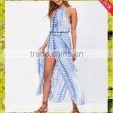 Hot sleeveless maxi halter beach dress women sexy print pleated long dresses with split side