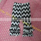 Funky Designs Toddler Girls Boutique Chevron Clothing Baby Persnickety Girls Cotton Black/White Zigzag Double Ruffle Pants