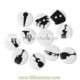 Wood Painting Sewing Buttons Scrapbooking Round 2 Holes Black Mixed Musical Instrument Pattern Print 15mm Dia,Bulk