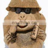 Handcarved Monkey Figurine Unique Carving Coconut wood Exotic Animal Sculpture Collectible Folk Ethnic Tribal Art Statues Decor
