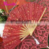 red wedding lace hand fans