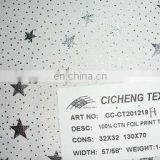 2013 new design hot sale 100%cotton foil print twill