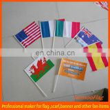 PE national handheld flag with plastic pole