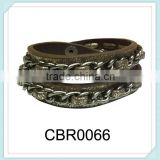 New product double wrap PU bracelet hip hop press fancy leather chain brecelet,stamping gold bracelet