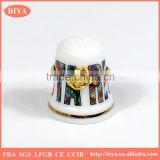 thimble souvenirs porcelain thimble set or ceramic hand ring jewelry holder with gold paint line and custom decal design logo
