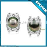 2015 Latest Factory Direct Sale 18K White Gold Tahitian Pearl Earring Designs on Hotsale