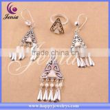 New model top quality party jewelry set white shell thai silver kundan jewellery designs price (6305T1)