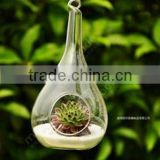 Hanging Water Drop Shaped Glass Vase, Air Plant Terrarium, Flat Bottom, Home Decoration