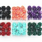 Nice Cool Color Assorted Lot Synthetic Turquoise Carved Rose Howlite Coral Flower Carving Loose Beads Jewelry Making