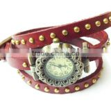 SWH 0651-2 China wholesalef genuine leather wire nail strap wrap ladies bracelet watch